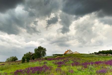 Storm clouds above a village