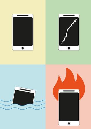 Damaged mobile phone icons
