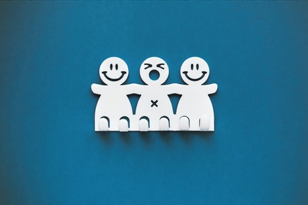 Happy and sad smiles. White Plastic figures on blue background.