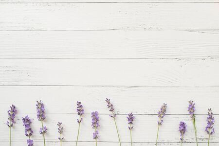淡紫色的构成在白色木背景的。紫罗兰色鲜花边界。可用空间。顶视图