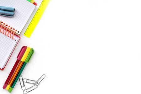 Back to school. School and Office drawing supplies isolated on white background. Free space for text.