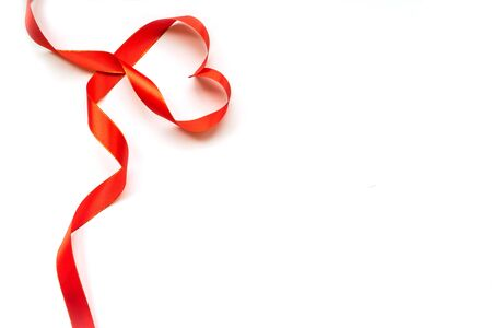 Top view of ribbon shaped as heart isolated on white background. Valentines day concept 版權商用圖片