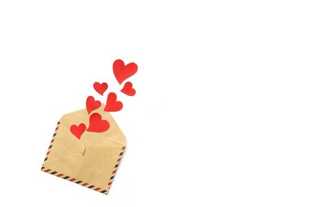 Valentines day, red hearts from the envelope isolated on white background. Love concept. Copyspace