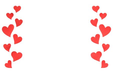 Valentines Day card background, red cute hearts made of paper. White background with hearts in paper cut in different size. Valentine Day romantic. Copyspace 版權商用圖片