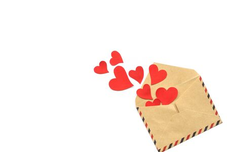 Valentine day, red hearts from the craft envelope isolated on white background. Love concept. Copyspace 版權商用圖片