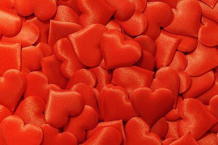 Valentines day many red silk hearts background, love concept 版權商用圖片