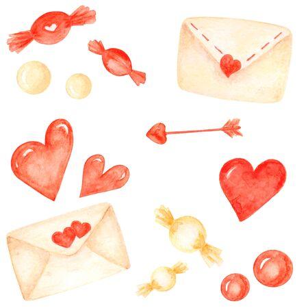 Watercolor love elements set. Valentines day elements 版權商用圖片