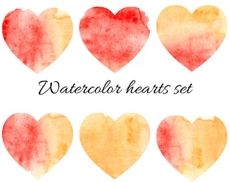 Abstract watercolor hearts set isolated on white.