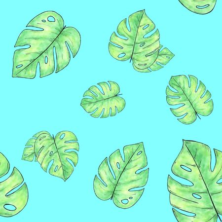 Watercolor hand drawn seamless pattern with monstera leaves