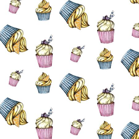 Seamless pattern of Colorful cupcakes with cream and berries. Watercolor hand drawing isolated on a white