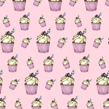 Seamless pattern of Colorful cupcakes with cream and berries. Watercolor hand drawing on pink background