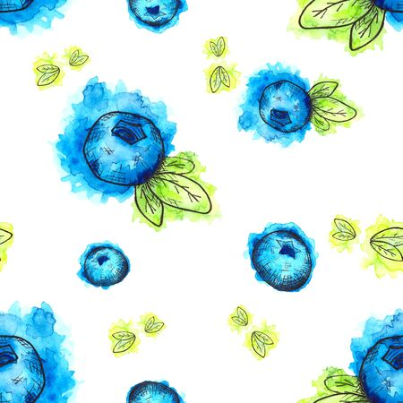 Seamless pattern of hand drawn watercolor blueberries on white 版權商用圖片