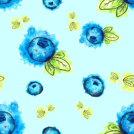 Seamless pattern of hand drawn watercolor blueberries and