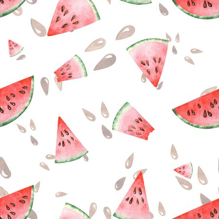 Bright watercolor seamless pattern with slices of watermelon. Hand drawing.