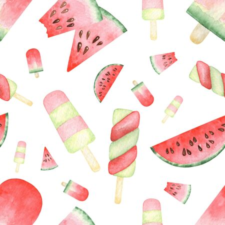 Seamless pattern of Watercolor set with watermelon slices, popsicles. Raster hand drawn illustration