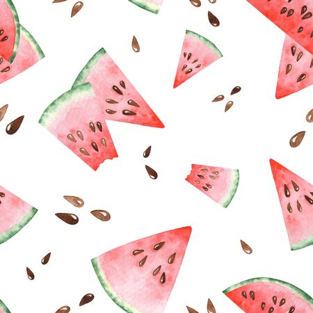 Bright watercolor seamless pattern with slices of watermelon. Hand drawing illustration