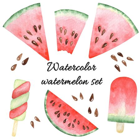 Watercolor set with watermelon slices, popsicles. Raster hand drawn elements