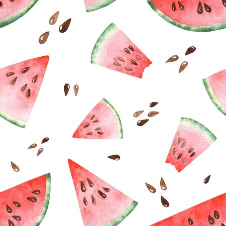 Bright watercolor seamless pattern with slices of watermelon. Hand drawing 版權商用圖片