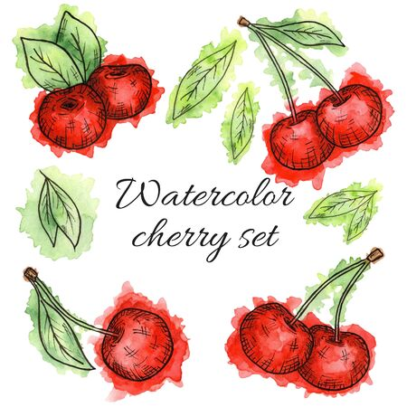 Set of cherries painted in watercolor on white background. Hand drawn berriess. 版權商用圖片