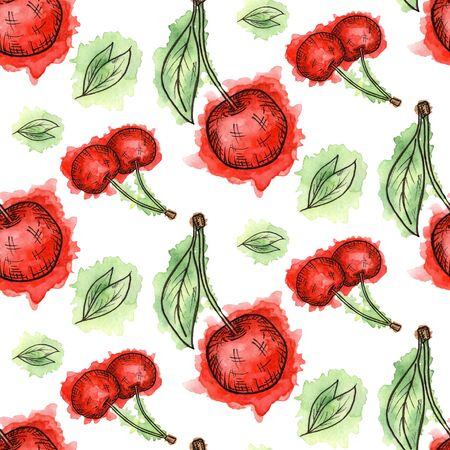Seamless pattern of cherries painted in watercolor on white background. Hand drawn berriess. 版權商用圖片