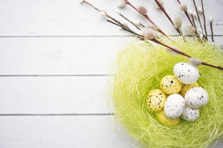 Easter decorations. Willow twigs and decorative Eggs in nests on white wooden background 版權商用圖片