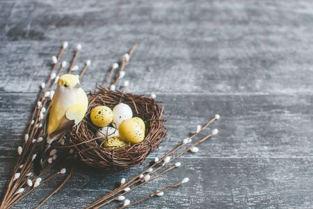 Easter background. Nest with easter eggs and decorative yellow bird on wooden background. Selective focus. 版權商用圖片