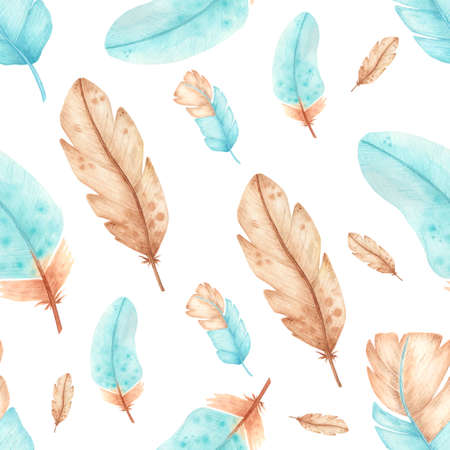 Watercolor seamless pattern with feathers.Hand drawn turquoise and light brown feathers sketches. Isolsted on white