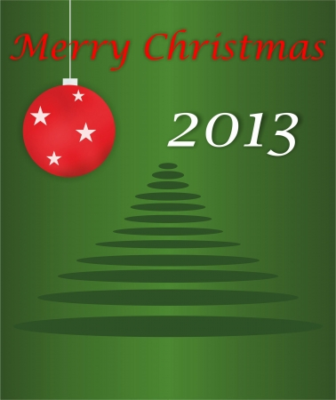 Merry Christmas 2013  card with tree and ornaments  Vector