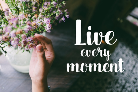 Life quote. Motivation quote on soft background. The hand touching purple flowers. Live every moment.