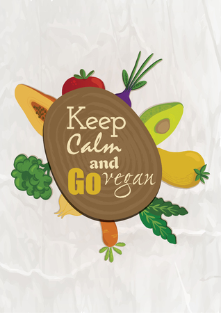 Quote food calligraphy style. Hand lettering design element. Inspirational quote: Keep calm and go vegan. Illustration