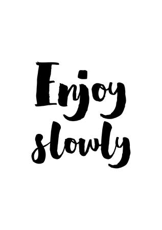 Citar estilo de caligrafía de alimentos. Elemento de diseño de letras de mano. Cita inspirada: Disfrútalo lentamente. Foto de archivo - 89062797