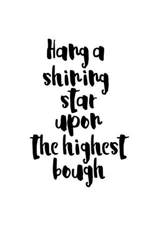 Weihnachtsgrußkarte mit Pinsel Kalligraphie. Hängen Sie einen leuchtenden Stern auf den höchsten Ast. Standard-Bild - 88314147