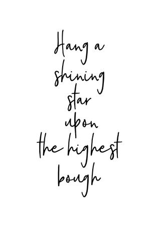 Weihnachtsgrußkarte mit Pinsel Kalligraphie. Vektorschwarzes mit weißem Hintergrund. Hängen Sie einen leuchtenden Stern auf den höchsten Ast.