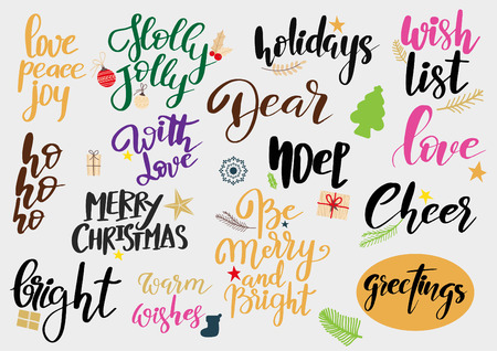 Set Of Merry Christmas And Happy New Year Vintage Hand Drawn ...