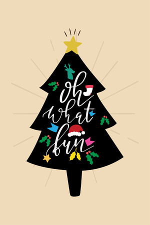 Christmas quote, lettering. Print Design Vector illustration. Oh what fun.