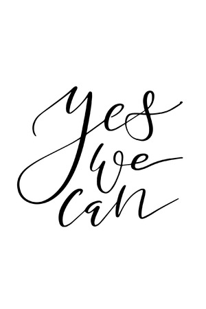 Hand drawn lettering. Ink illustration. Modern brush calligraphy. Isolated on white background. Yes we can. Vettoriali