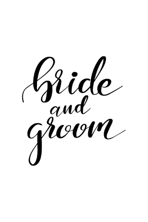 Bride and groom lettering.