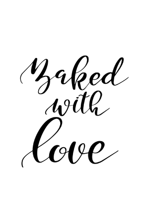 Baked with love lettering.