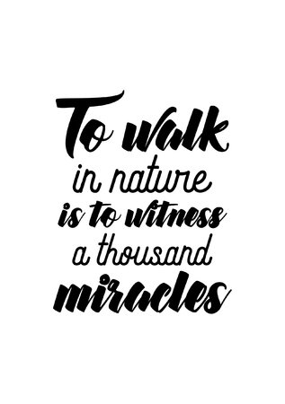Life quote. Isolated on white background. To walk in nature is to witness a thousand miracles. Illustration