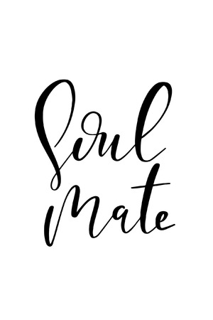 Hand drawn word. Brush pen lettering with phrase Soul mate.