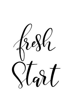 Hand drawn word. Brush pen lettering with phrase Fresh start. Vector illustration.
