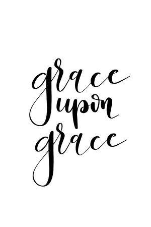 Hand drawn word. Brush pen lettering with phrase Grace upon grace.