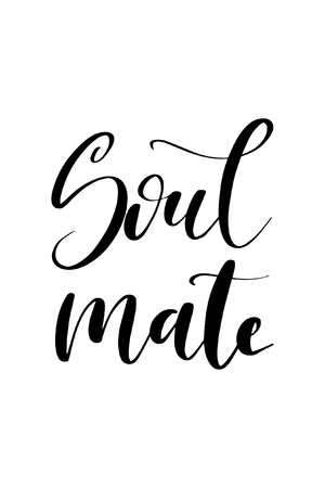 Hand drawn word. Brush pen lettering with phrase Soul mate. Vector illustration.