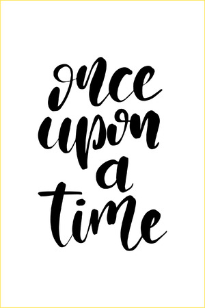 Hand drawn word. Brush pen lettering with phrase Once upon a time. Vector illustration.