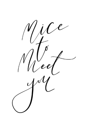 Palabra dibujada a mano. Letras de rotulador con la frase Encantado de conocerte.
