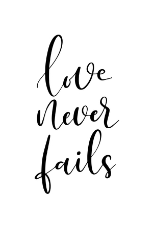 Hand drawn word. Brush pen lettering with phrase Love never fails. Stock Illustratie