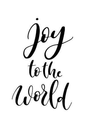 Boże Narodzenie kartkę z życzeniami z kaligrafii pędzla. Wektor czarny z białym tłem. Radość dla świata.