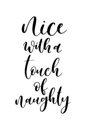 Tarjeta de felicitación de Navidad con caligrafía de pincel. Vector negro con fondo blanco. Agradable con un toque travieso.