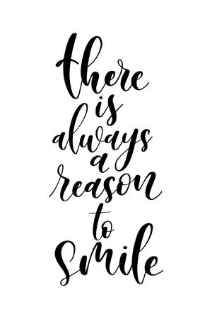 Weihnachtsgrußkarte mit Pinselkalligraphie. Vektorschwarz mit weißem Hintergrund. Es gibt immer einen Grund zu lächeln. Vektorgrafik