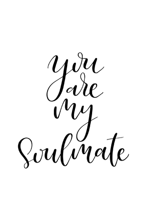 Hand drawn word. Brush pen lettering with phrase You are my soulmate. 向量圖像